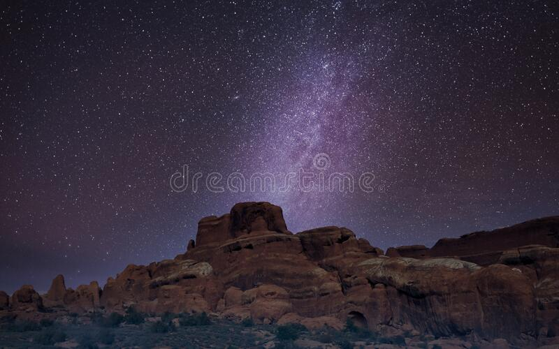 Milky Way long exposure photo in Arches National Park stock photo