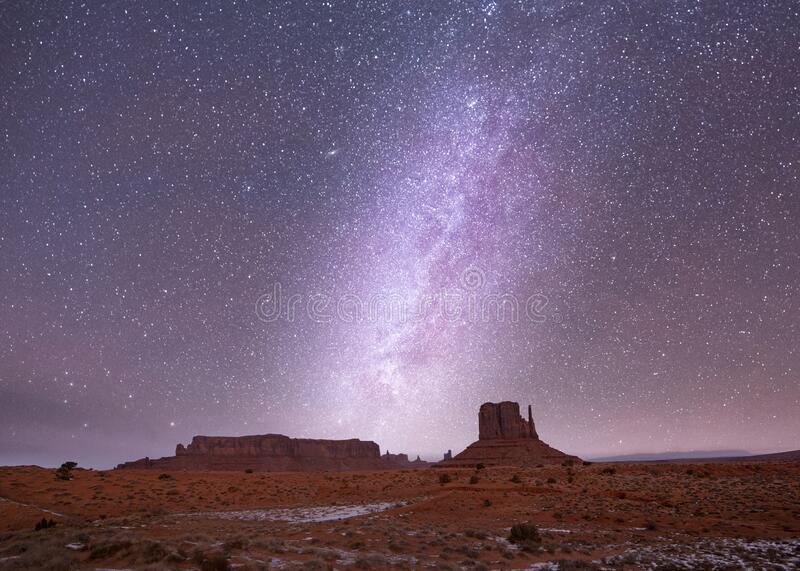 Milky Way long exposure photo in Monument Valley stock photo