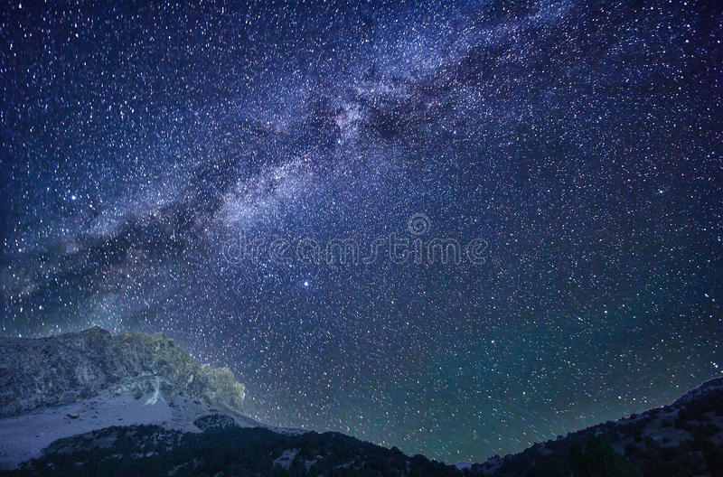 Milky Way in the mountains royalty free stock photography