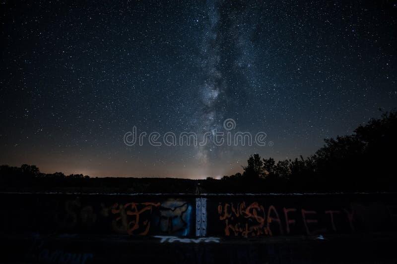 Milky Way night at the bridge stock photos
