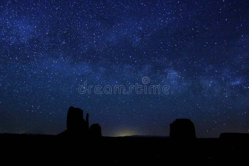 Monument Valley night sky royalty free stock images