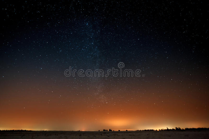 Milky Way in the night starry sky. stock images