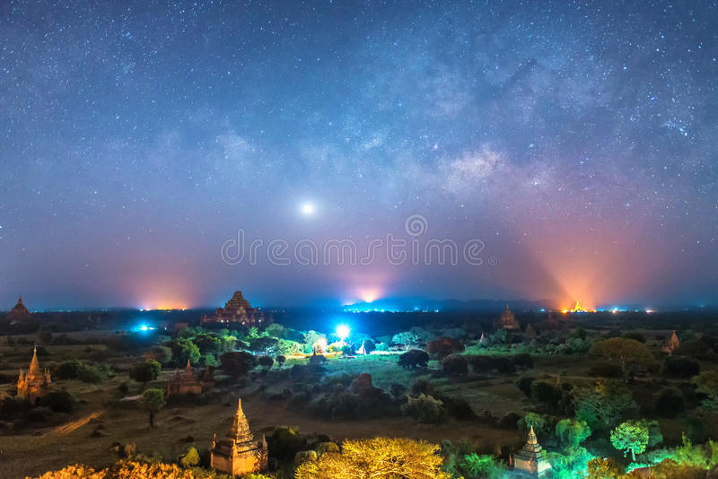 Milky way over ancient pagoda in bagan. Myanmar royalty free stock photography