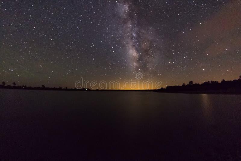 Milky Way over Ashurst Lake stock photography