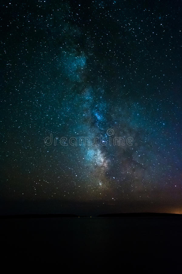 The Milky Way over the Atlantic Ocean, seen from Acadia National stock photo