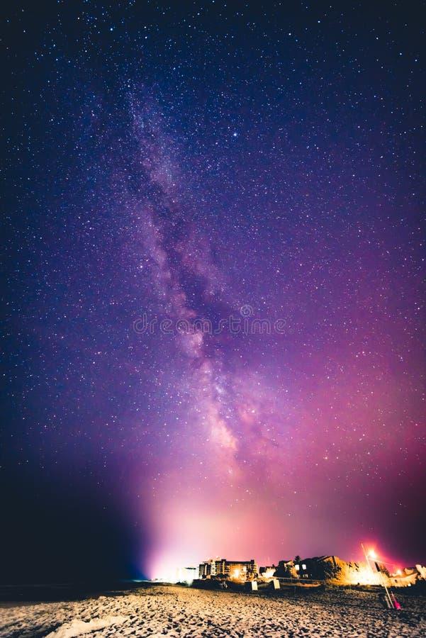 Milky way over Bethany Beach, Delaware royalty free stock image