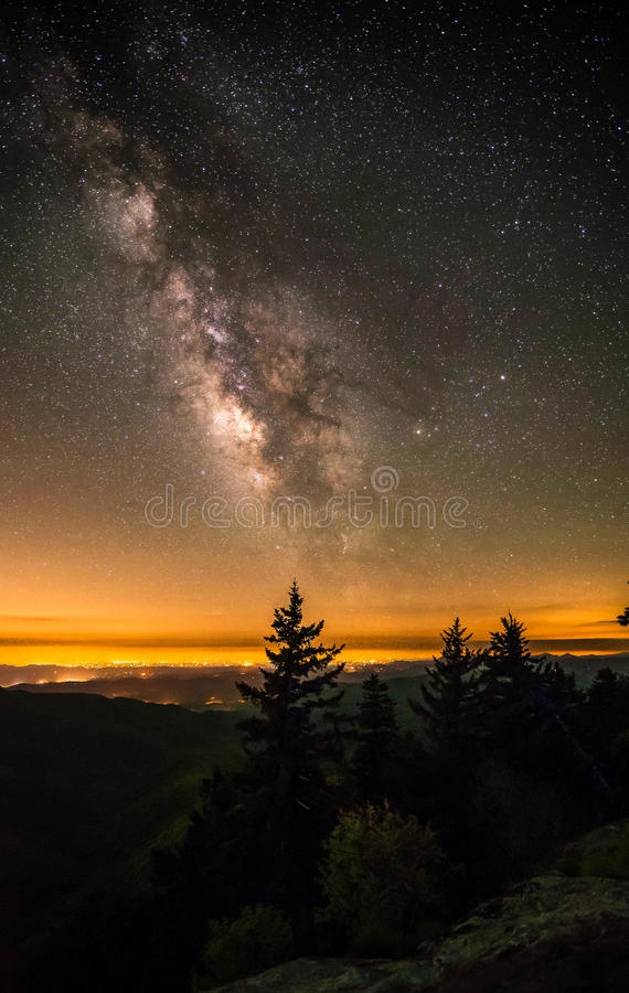 Milky Way Over The Blue Ridge Mountains Stock Image