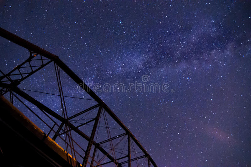 Milky Way over a Bridge royalty free stock images