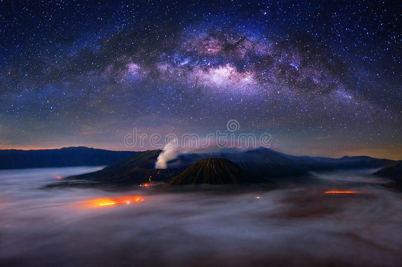 Milky way over Bromo Mount in Bromo Tengger Semeru National Park. Milky way over Bromo Mount in Bromo Tengger Semeru National Park, East Java, Indonesia royalty free stock image