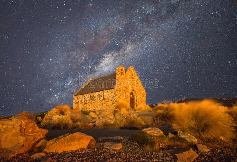Milky way over the Church of the Good Shepherd in starry night of New Zealand. royalty free stock images