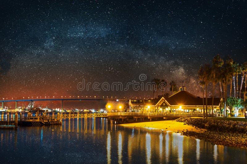 Milky way over Coronado bridge royalty free stock image