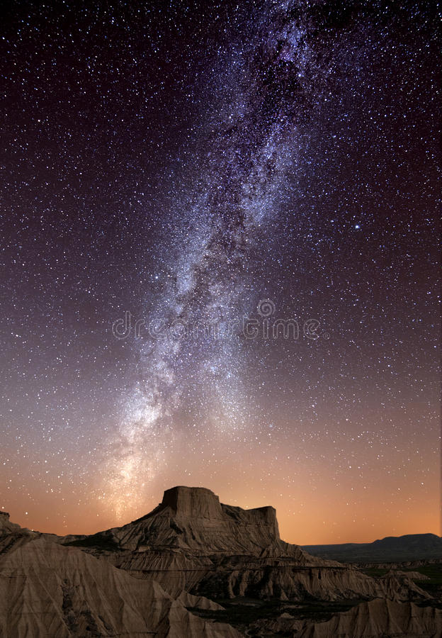 Milky Way over the desert stock photography