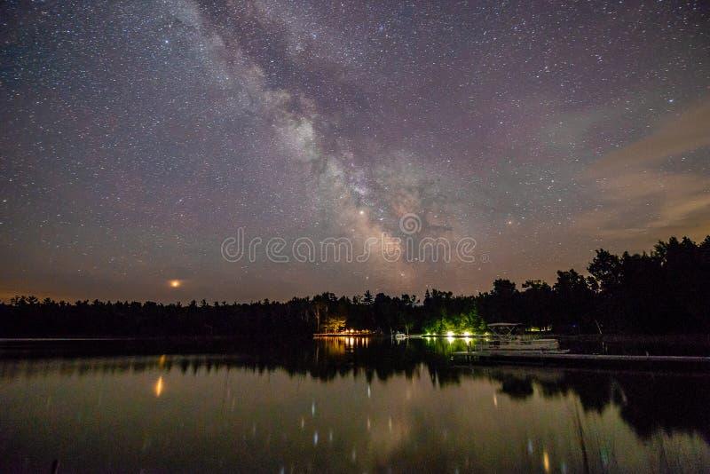 Milky way over Europe lake in door County Wisconsin royalty free stock photo