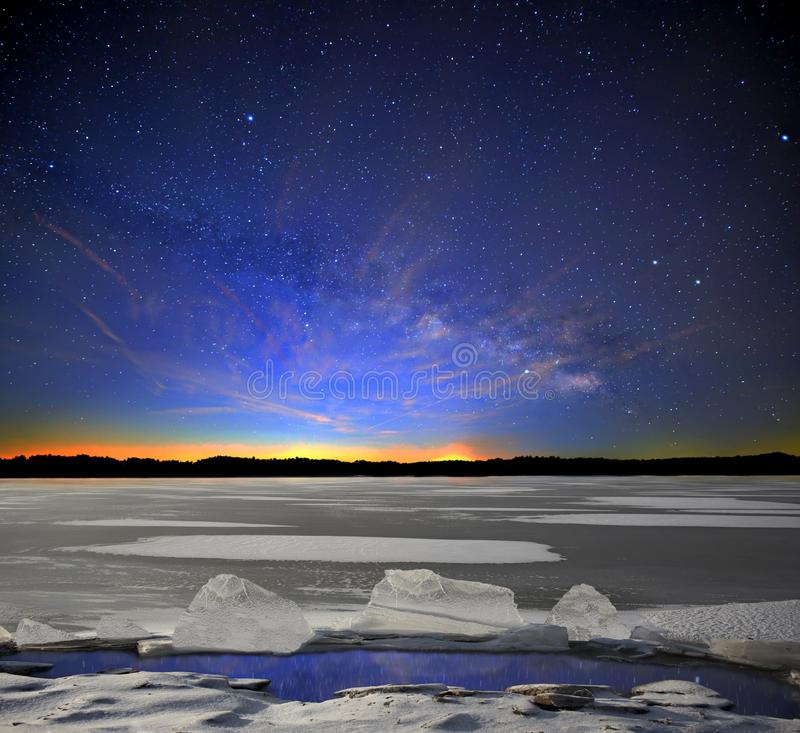 The Milky Way in Winter stock photography