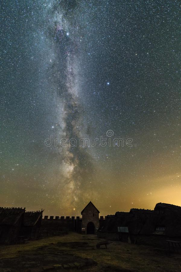 Milky Way over the gate to the fortress royalty free stock images
