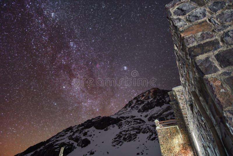 Milky way over High Atlas near mountain refuge royalty free stock photos