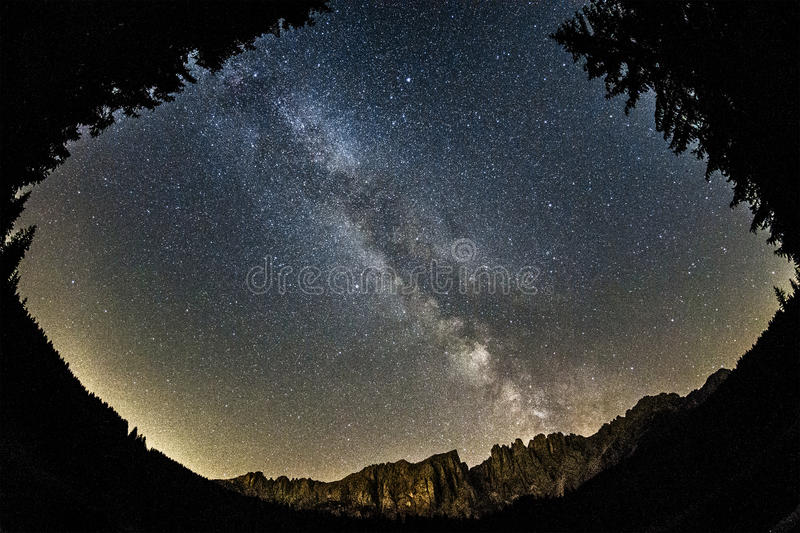 Download Milky Way Over Latemar, Dolomiti Stock Image - Image: 33818559