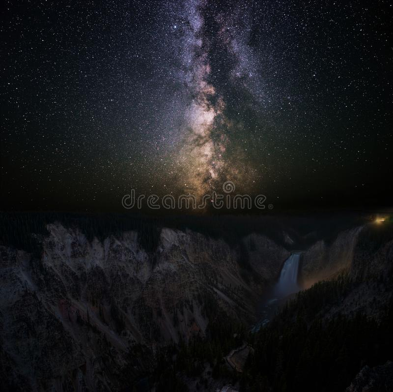 Milky Way over the Lower Falls of the Yellowstone River royalty free stock image