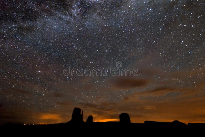 The Milky Way over Monument Valley stock photos