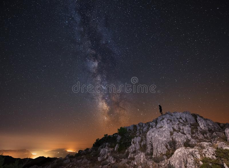 Milky way over a mountain in Italy royalty free stock image