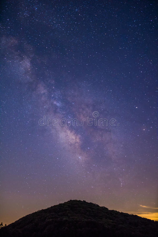Milky Way over a Mountain stock images