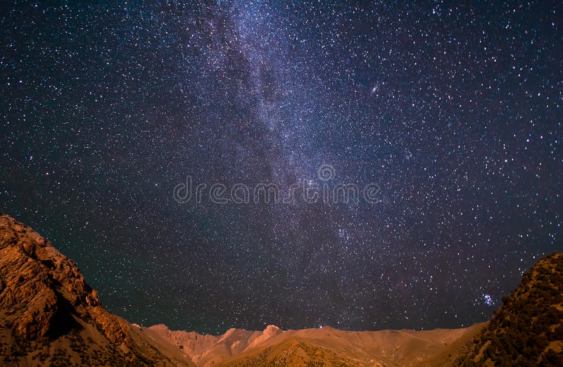 Milky Way over the mountains. Pamir, Tajikistan royalty free stock image