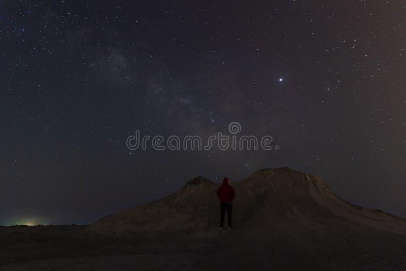 Milky Way over mud volcanoes royalty free stock image