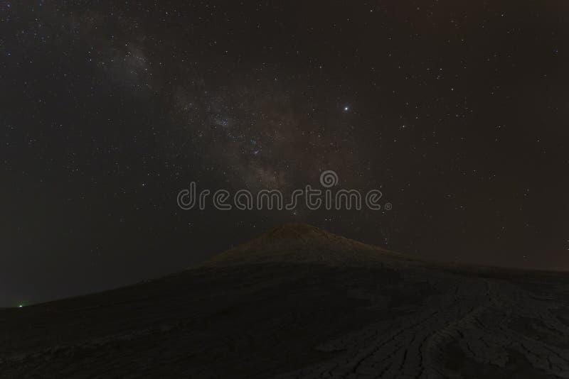 Milky Way over mud volcanoes royalty free stock photos