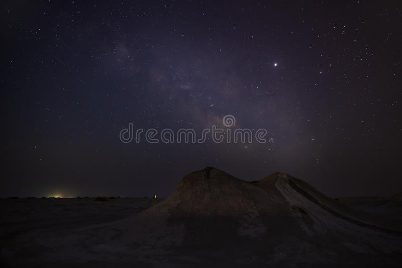 Milky Way over mud volcanoes royalty free stock photography