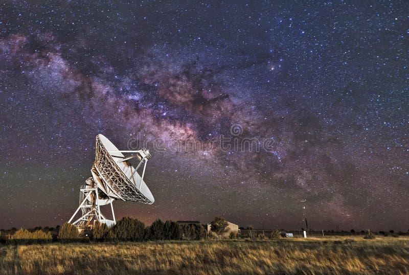 Milky Way over Radio Telescope. The Milky Way rises over the Radio Telescope (part of the VLBA) near Fort Davis, Texas stock image