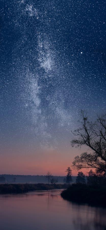 Milky Way over river stock photos
