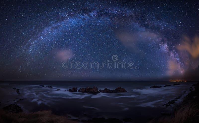 Milky Way over the sea royalty free stock photos