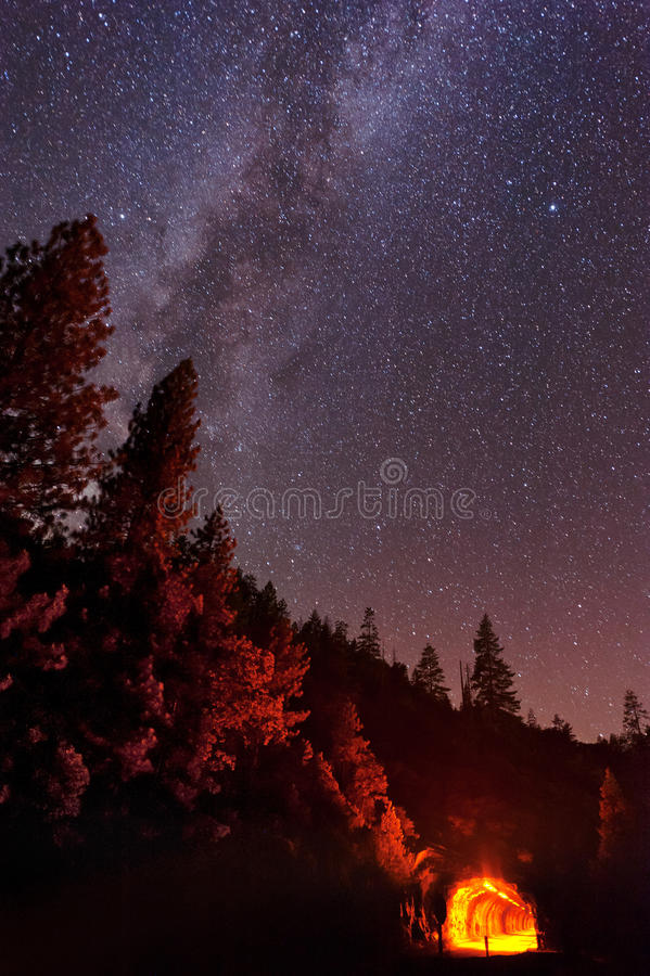 Milky Way over the Tunnel royalty free stock image