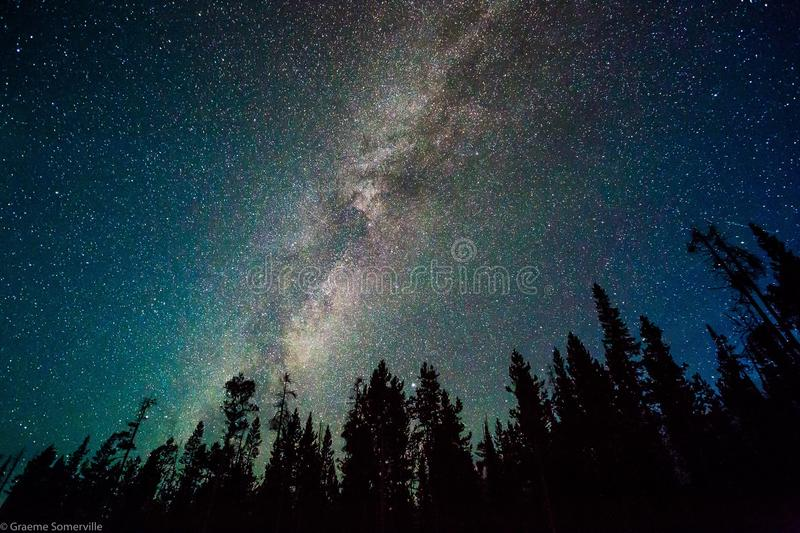 Download Milky Way over Yellowstone stock image. Image of astro - 92628383