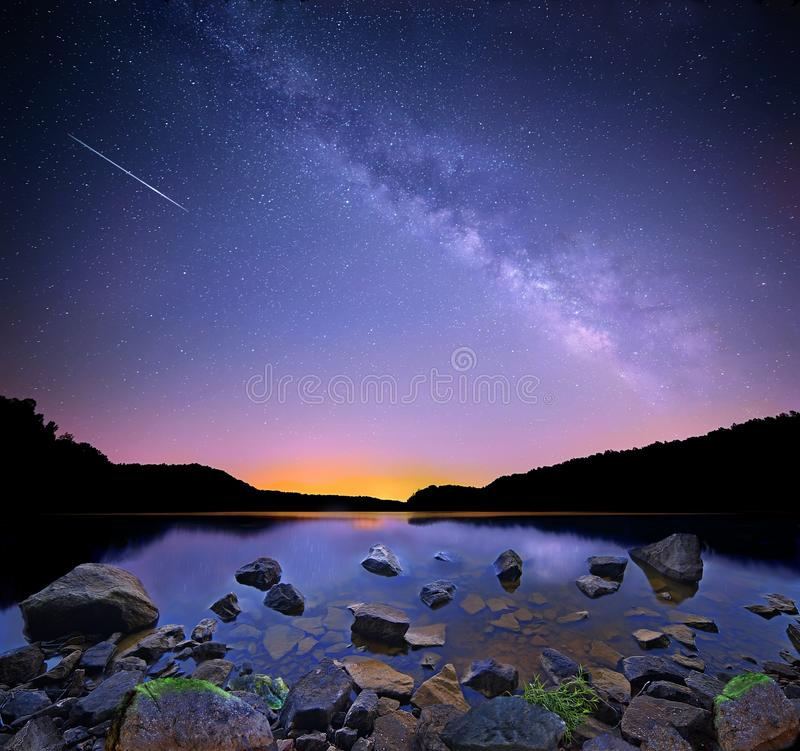 The Milky Way and Perseid Meteor royalty free stock photography