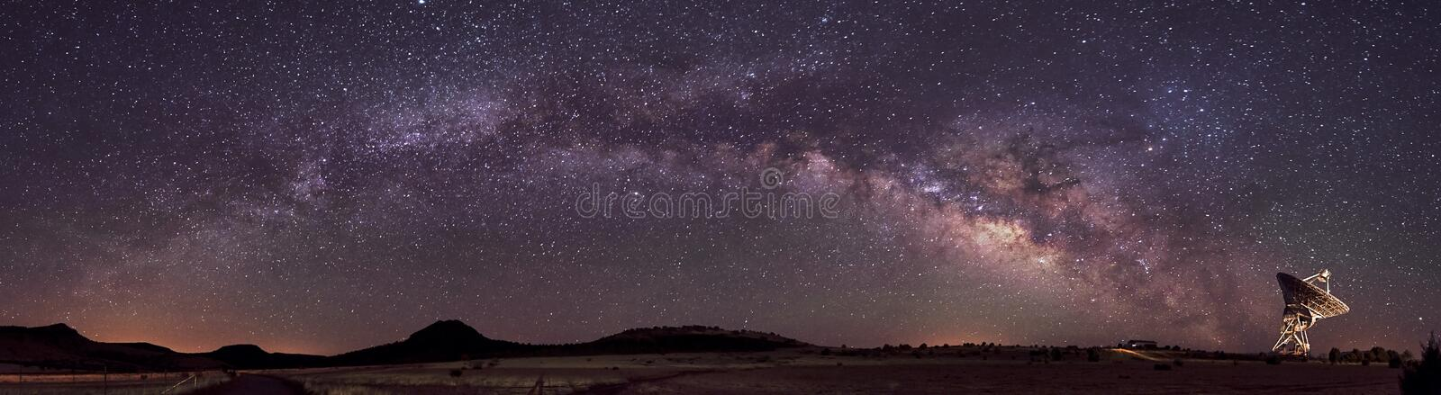 Milky Way and Radio Telescope. This 3 panel mosaic captures the entire arc of the summer Milky Way, which terminates at a large dish radio telescope near Fort royalty free stock images