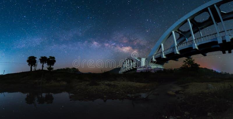 Milky way railway bridge royalty free stock photo
