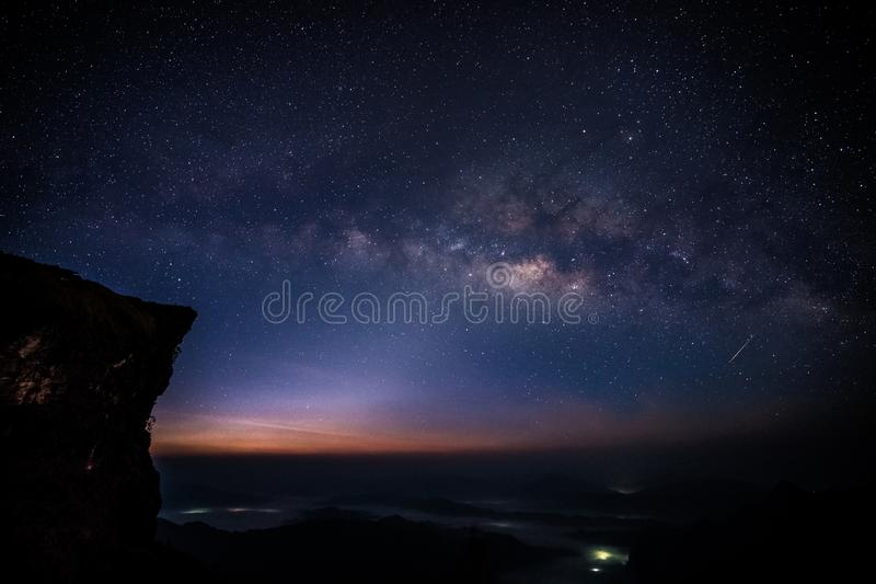 Milky way with the real little falling star stock photo