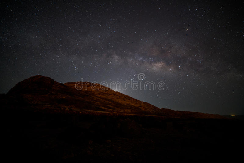 The Milky Way rises above Makapu'u Point stock images