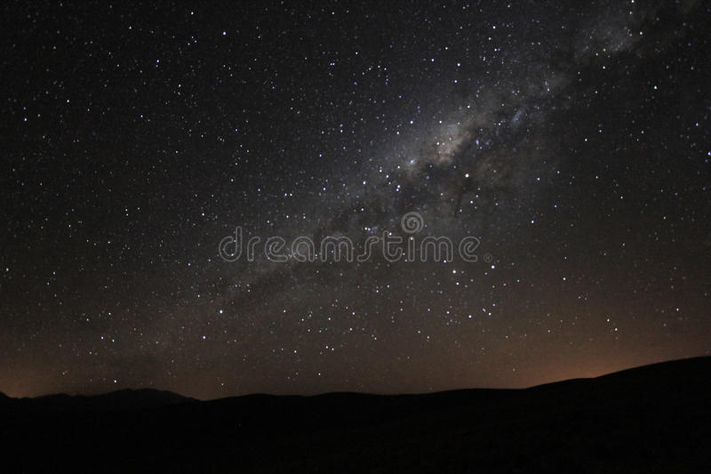 Milky way rising above the andean mountains, Argentina. Milky way galaxy rising above the andean mountains of northern Argentina. Image noise due to high ISO royalty free stock photography