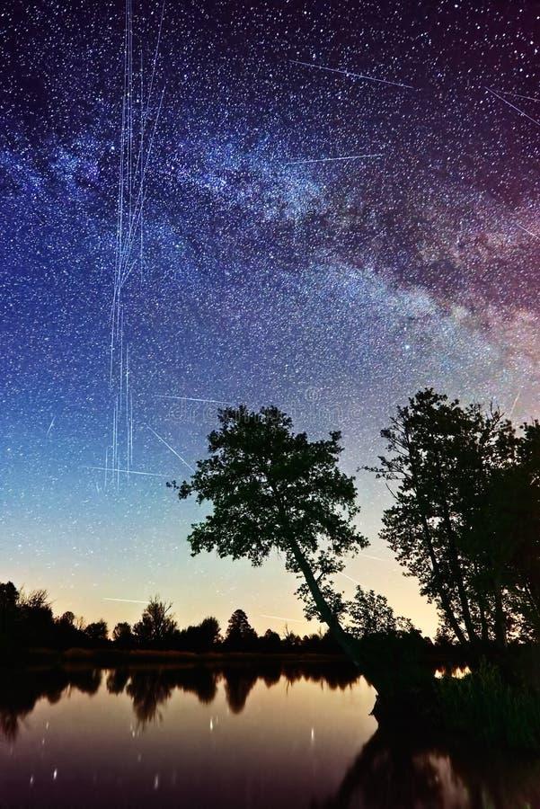 Free Milky Way Satellites Starlink Radarsat GPS Network 5G USSF Stock Photos - 183927973