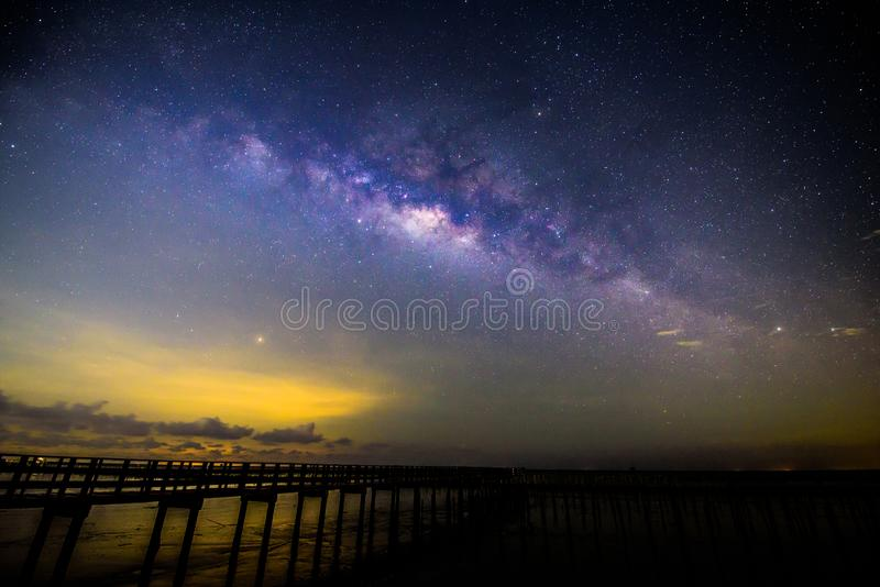 Milky way at the bridge stock images