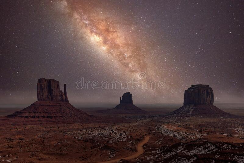 Milky Way long exposure photo in Monument Valley stock image