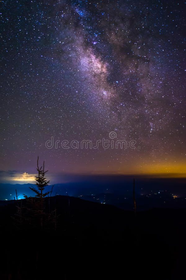 The Milky Way seen from Clingman's Dome, Great Smoky Mountains N. Ational Park, Tennessee stock images