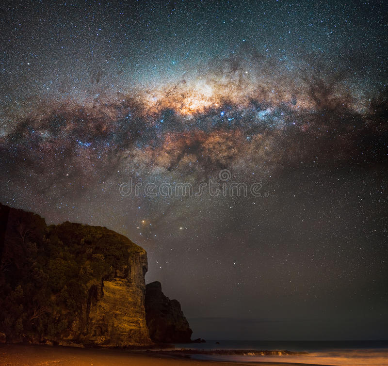 Milky way setting over south piha. Milky way low in the sky over the end of Piha beach royalty free stock photo