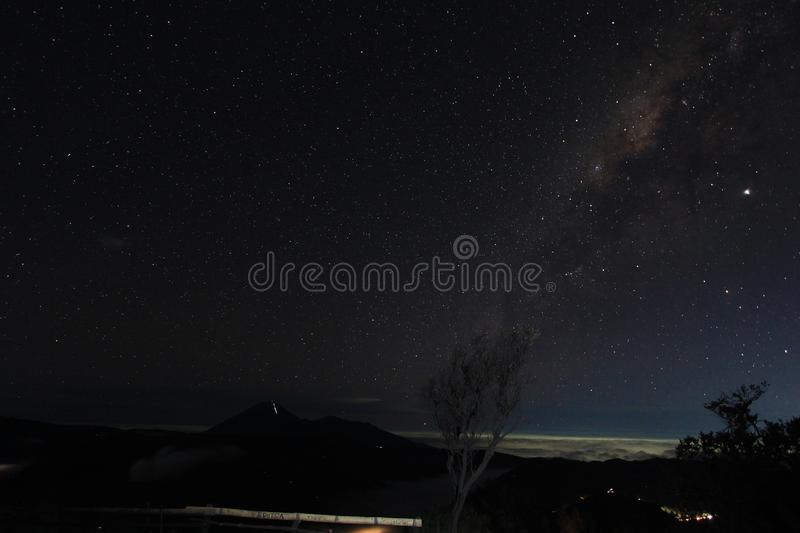 Milky Way in the sky of Mount Bromo, East Java, Indonesia stock images