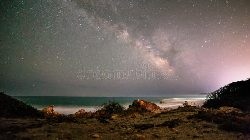 Milky way in the sky of Sardinia stock image
