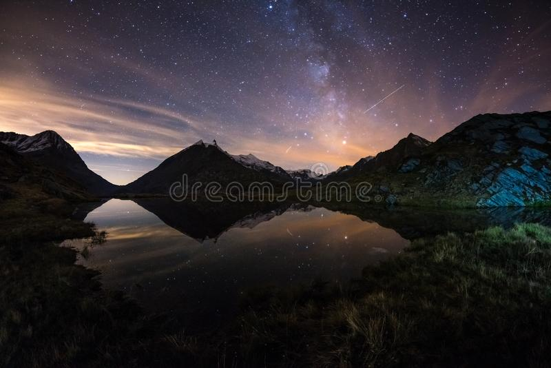 Download Milky Way Starry Sky Reflected On Lake At High Altitude On The Alps. Fisheye Scenic Distortion And 180 Degree View. Stock Image - Image of mystery, astronomy: 108908495
