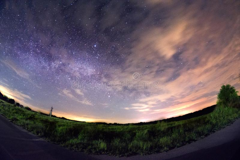 Milky way stars galaxy shot with fisheye stock images