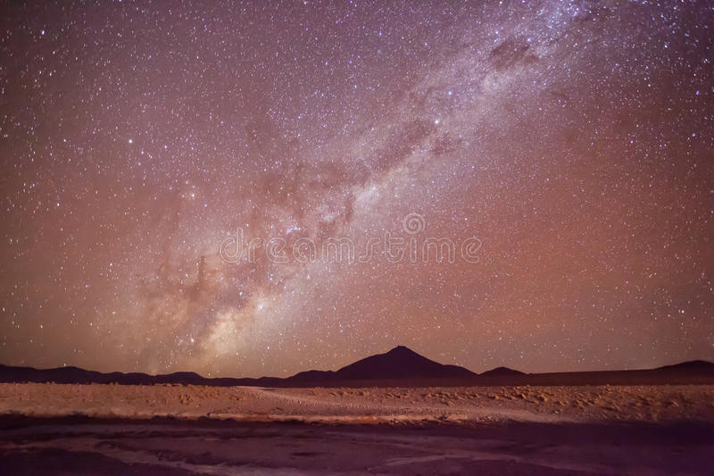 Milky Way stars. Stars and Milky Way at the mountains stock photo